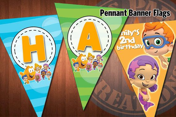 Bubble guppies pennant banner flags for bubble guppies birthday party diy printable digital - Bubble guppies birthday banner template ...