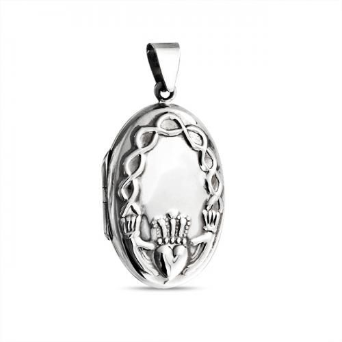 Bling Jewelry 925 Silver Oval Celtic Knot Hands Heart Claddagh Locket Pendant