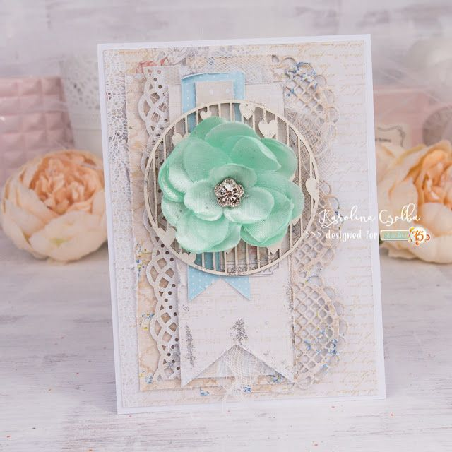 Elegant and soft, multilayered card made with Studio 75 The Rose Avenue paper collection and beautiful chipboard from scrapiniec. The minty flower is from PrimaMarketing.