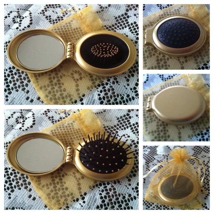 GOLD compact fold up brush & mirror set in matching gold organza pull-string bag @ AUD$6.95