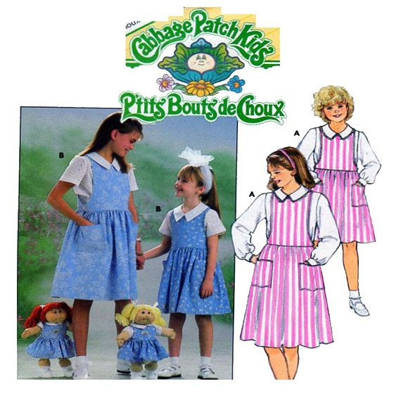Cabbage Patch Kids Girls Dress Sewing Pattern Matching Doll