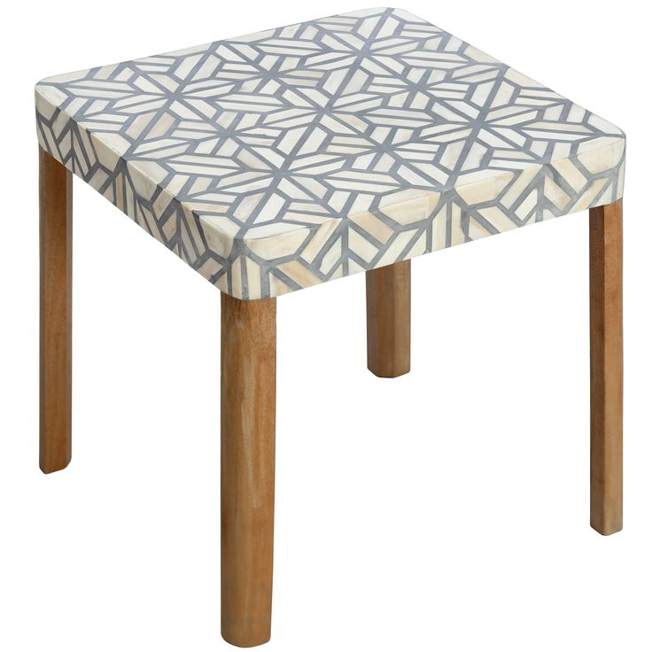 Oak/Bone Inlay Side Table   50x50x60   $950   Ruby Star Traders