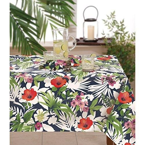 60 X 102 Bernini Floral Oblong Tablecloth 1 Piece Indoor Outdoor Island Flower Leaf Printed Botanical Garden Themed Rectangle Large Dining Table Cover Red White Purple Green Polyester