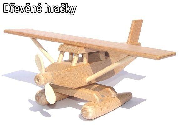 Dřevěné hračka hydroplán, vodní letadlo