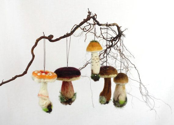 Needle Felted Mushrooms- Mushroom Ornaments , Wild Mushrooms, Pacific Northwest…