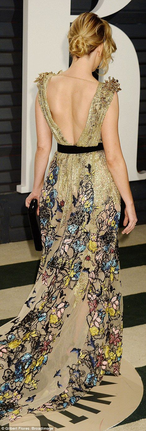 Sheer beauty! Elizabeth Banks, 43, gave a glimpse of her svelte figure in a sheer plunging gown with colorful embellishments along the flowing skirt