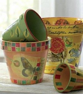 Painted & decoupaged flower pots