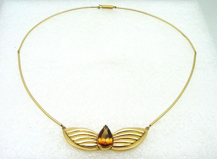 14K Yellow Gold Custom Made Hand Assembled Topaz Necklace