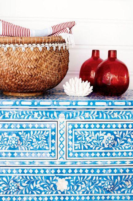 Turquoise inlaid dresser. *bellaMUMMA {life is beauty-full}: home inspiration: ANNA SPIRO'S HOLIDAY HOME