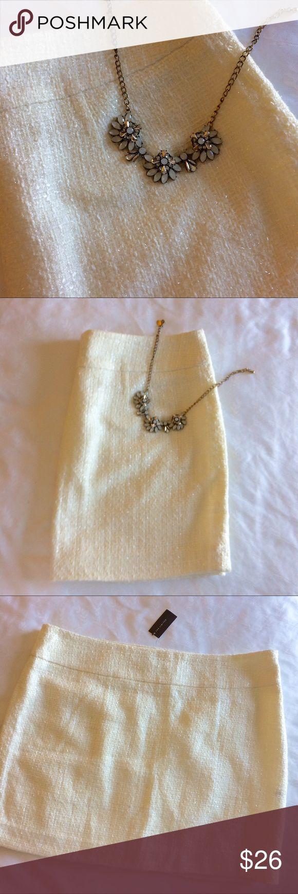 The Limited White Sparkly Skirt NWT 💙 The Limited White Sparkly Skirt NWT - beautiful w/ hints of sparkle- even nicer in person. Floor sample - new and never worn. Add Sandals for day time or add boots for evening The Limited Skirts