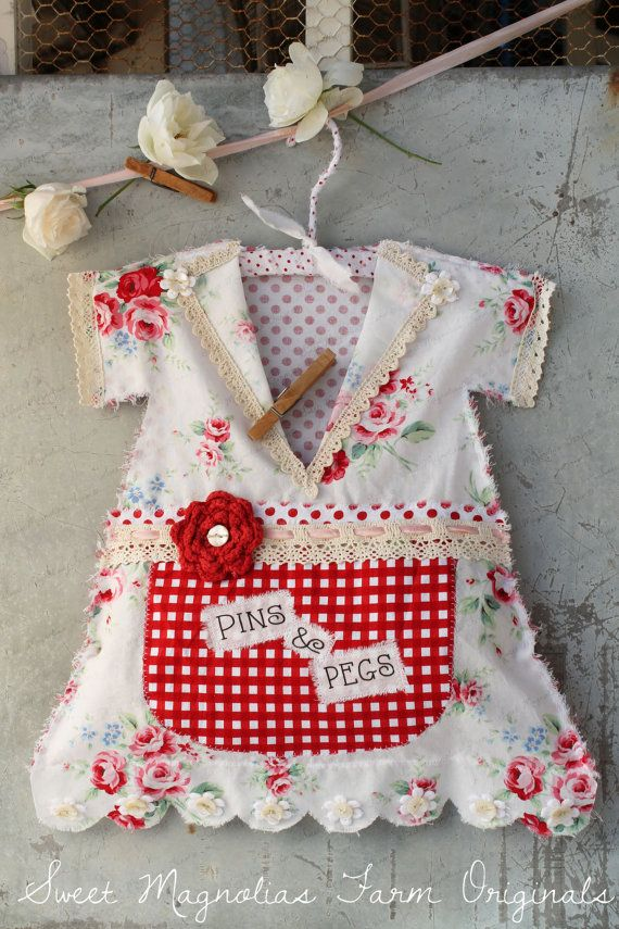 "Clothespin Bag Vintage Style Dress - ""Pins & Pegs"" Crochet Lace, Polkadots, Roses, Gingham, Red, Shabby, Country, Cottage, Farmhouse Chic"