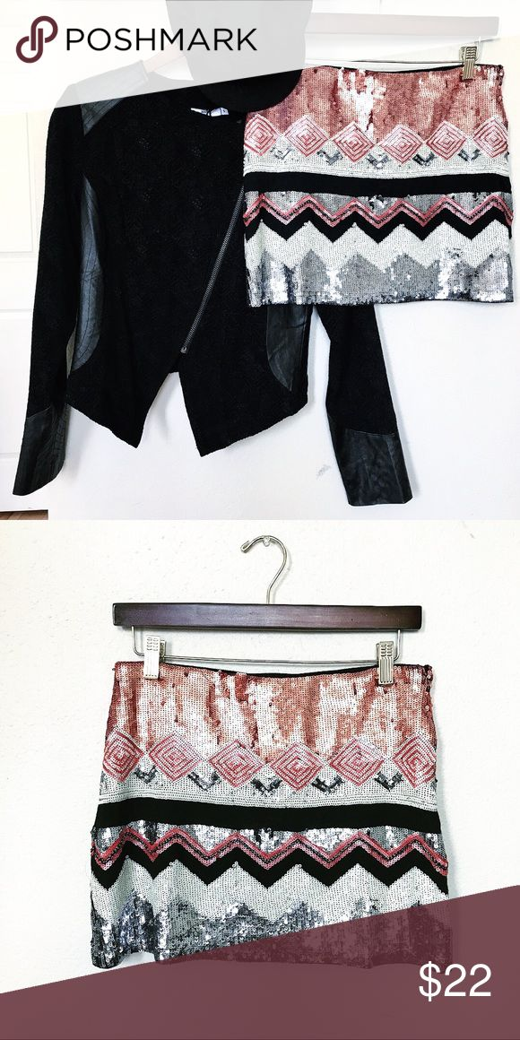 The Sequined Mini | NWOT The Sequined Mini is going to make you stand out at any party.  Features beautiful grey, silver , ivory and Dusty rose colored sequins.  Bundle from my closet and receive a bonus item.   Size Medium  From Tobi Stain and damage free Smoke free home verty Skirts Mini