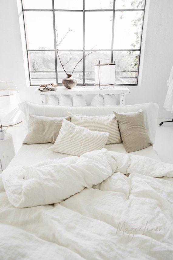Linen Bedding Set In White Color Linen Duvet Cover Set 2 Etsy White Linen Bedding Bed Linens Luxury Bed Linen Design