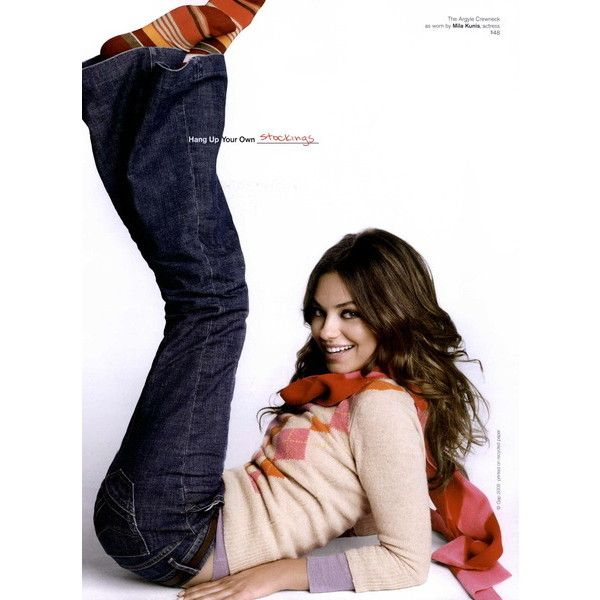 Gap Ad Campaign Fall/Winter 2008 Shot #7 ❤ liked on Polyvore featuring people, models, backgrounds, photos, mila kunis and ad campaign