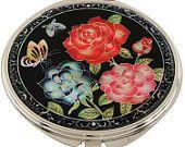 Mother of Pearl Makeup Mirror rose flower Design Cosmetic mirror Handbag Purse handheld Compact hand pocket Mirror