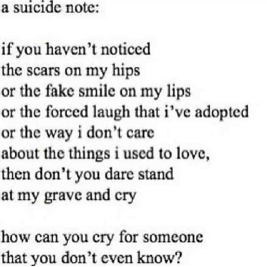Suicide Quotes For Teen Girls: 24 Best Suicide Notes Images On Pinterest