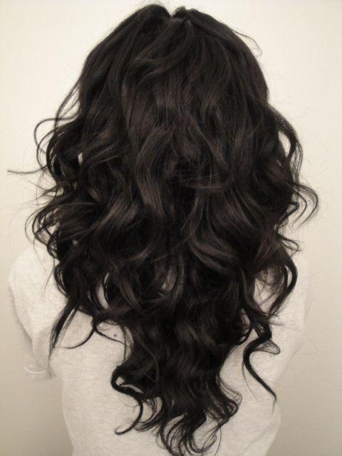 "long hair cut in a ""V"" shape"