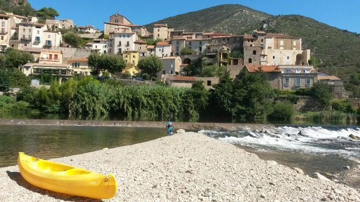 Passage de la digue de Roquebrun