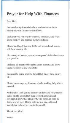 #Prayer for help with #finances