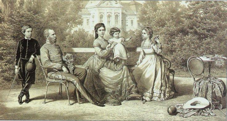Sissi, Franz Josef, Gisela, Rudolf, Marie Valerie at Godollo, Hungary