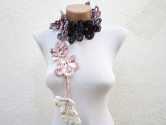 Hand crochet Lariat Scarf Lilac Purple Grey  White Flower by nurlu