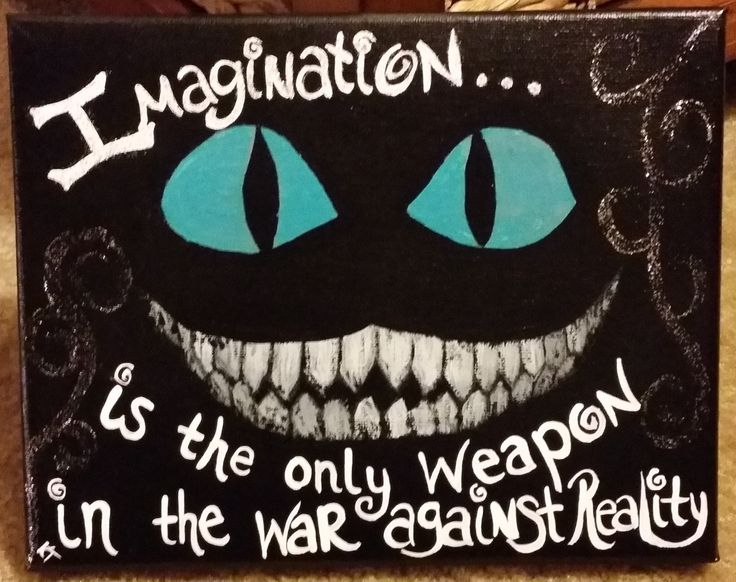 """Disney's Alice in Wonderland - Cheshire Cat, Hand-Painted Canvas with Quote """"Imagination is the Only Weapon in the War Against Reality"""""""
