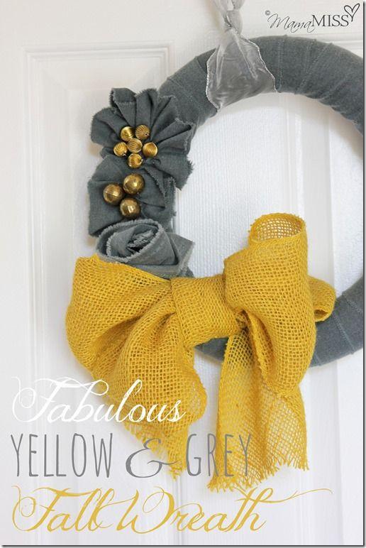 No Sew Fall Wreath - yellow & grey | Mama Miss #fall #burlap #wreath #nosew