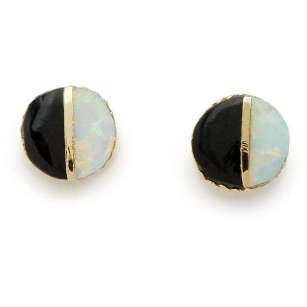 Erica Weiner Black Onyx And White Opal Studs (£80) ❤ liked on Polyvore featuring jewelry, earrings, accessories, multi, round stud earrings, 14 karat gold stud earrings, opal stud earrings, opal earrings and 14k earrings