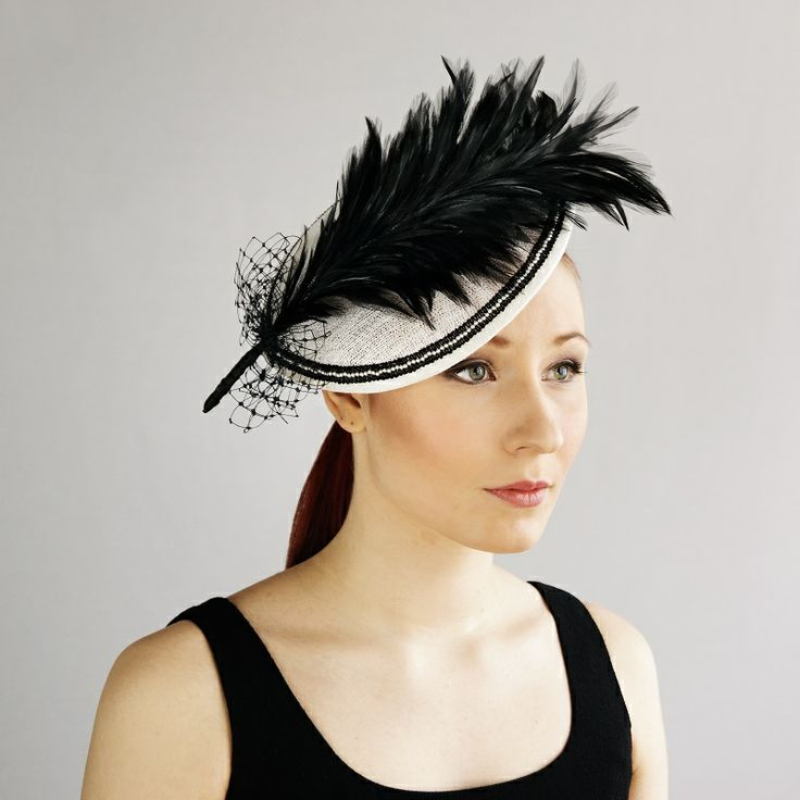 av Annina SS 2014 fascinator, black & white, black feather www.avannina.fi #avannina #fascinator