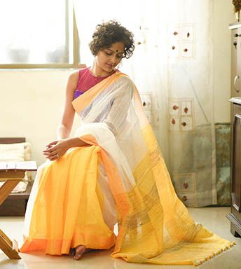 Silk Cotton Sarees - Handloom With Jute- White Snow And Yellow Sun By SuTa PC 20811 - Thumbnail