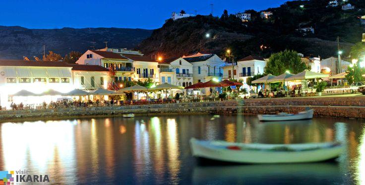 Evdilos by night, Ikaria island, Greece