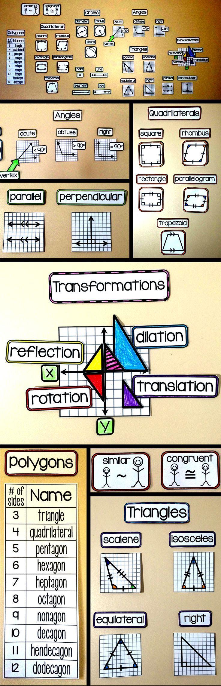 Geometry word wall for a geometry classroom bulletin board.