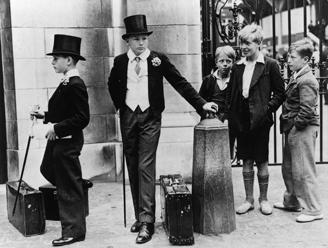 Toffs and Toughs; 1937 outside Harrow school.
