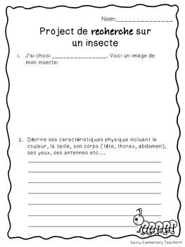 Projet Recherche sur les Insect  *Insect Research Project*