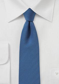 Designer Herringbone Tie in Steel Blue