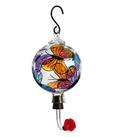 Another great find on #zulily! Butterfly Painted Glass Hummingbird Feeder #zulilyfinds