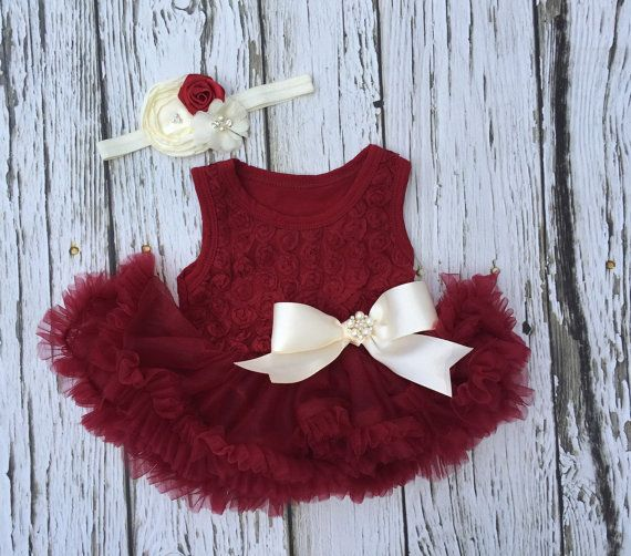 Baby girl first Christmas outfit. Holiday outfit. by KadeesKloset