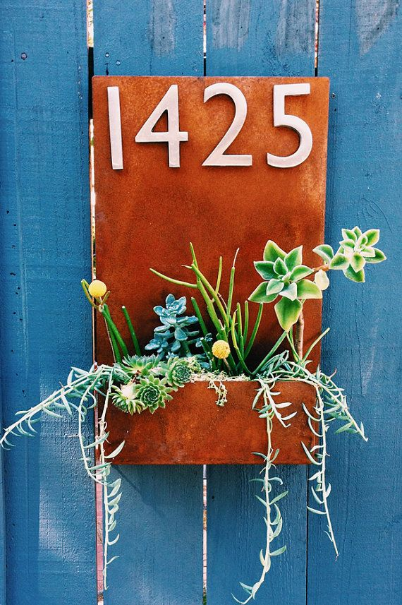 """Succulent Hanging Planter  Metal Address Plaque - 20"""" x 12"""" Vertical Wall Planter with (4) Satin Nickel Address Numbers (Free Shipping)"""