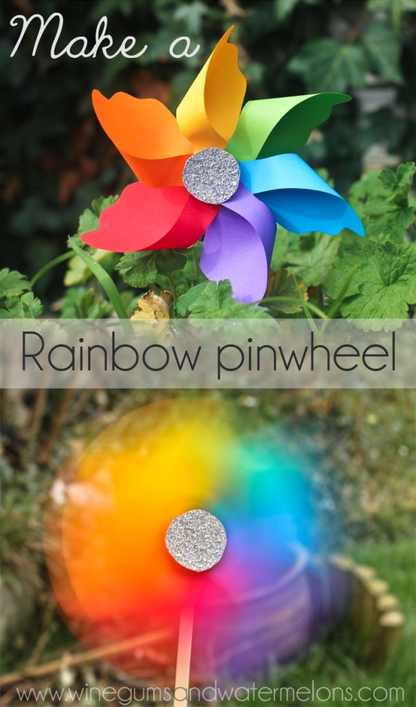 Make a rainbow pinwheel-use craft foam sheets from dollar store