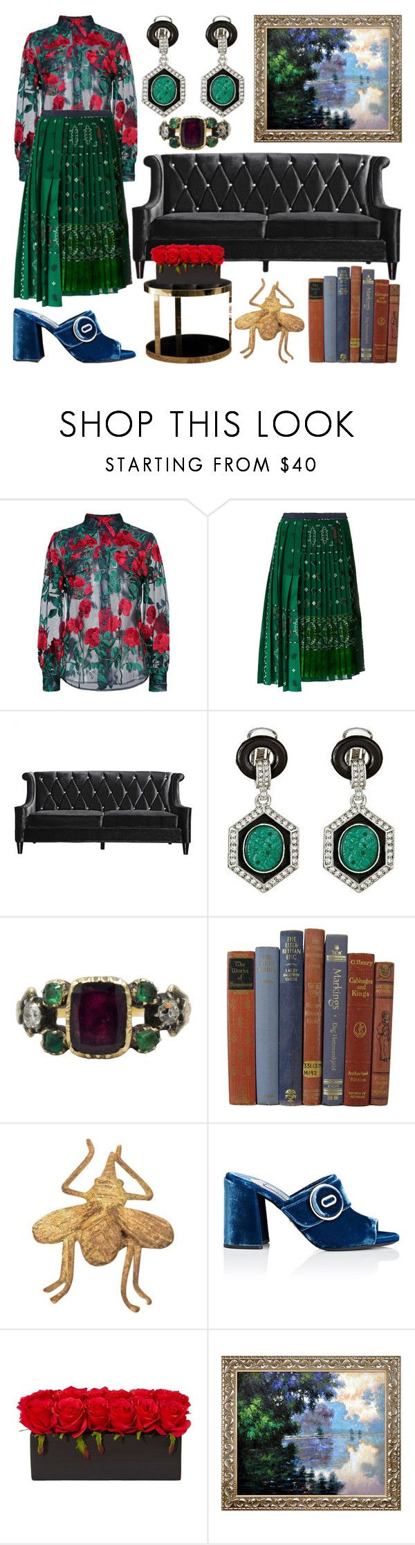"""Do I Look Like I'm Made of Monet?"" by heybigtrender on Polyvore featuring Adam Selman, Sacai, Armen Living, Kenneth Jay Lane, Dom Edizioni and Prada"