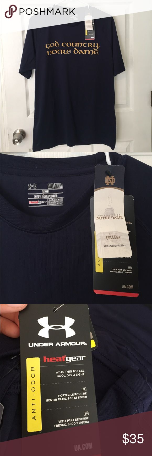 NWT Notre Dame Under armor t shirt ! Under Armor heat gear t shirt! Purchased at the Notre Dame bookstore!!! Loosely fitting medium Under Armour Shirts Tees - Short Sleeve