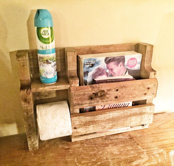 Rustic toilet paper holder - rustic wood magazine rack - rustic toilet paper holder magazine rack - pallet wood toilet paper holder - pallet by SandJBargainVault on Etsy https://www.etsy.com/listing/270143934/rustic-toilet-paper-holder-rustic-wood