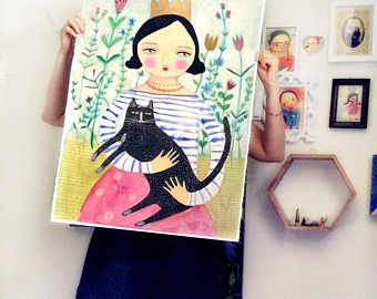 ÉNORME la Reine des chats tableau Original unique en son genre de dessin sur papier 30 x 22 pouces