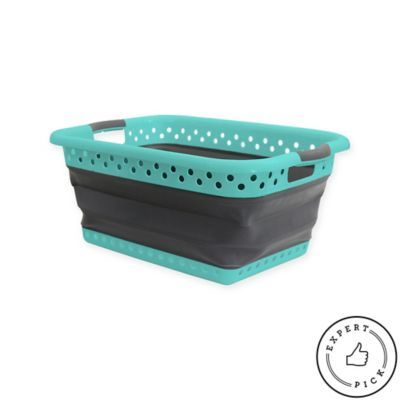 This Space Saving Laundry Basket will make doing laundry a breeze. Lightweight and sturdy, the rubber handles make carrying a load easy. Ventilated to prevent smells, this large basket holds about 2 full loads of laundry. Collapses flat for easy storage.