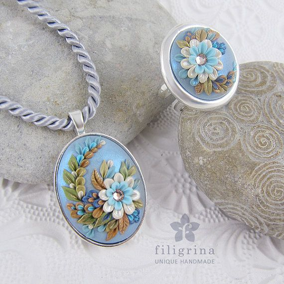 Polymer clay filigree applique technique, handmade jewelry, pendant and ring, blue silver and gold, vintage, wedding jewelry, flowers, floral jewelry