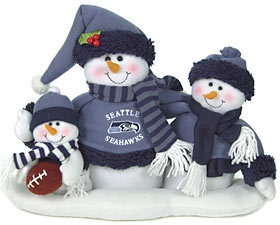 Seattle Seahawks Table Top Holiday Snowman Family Xmas