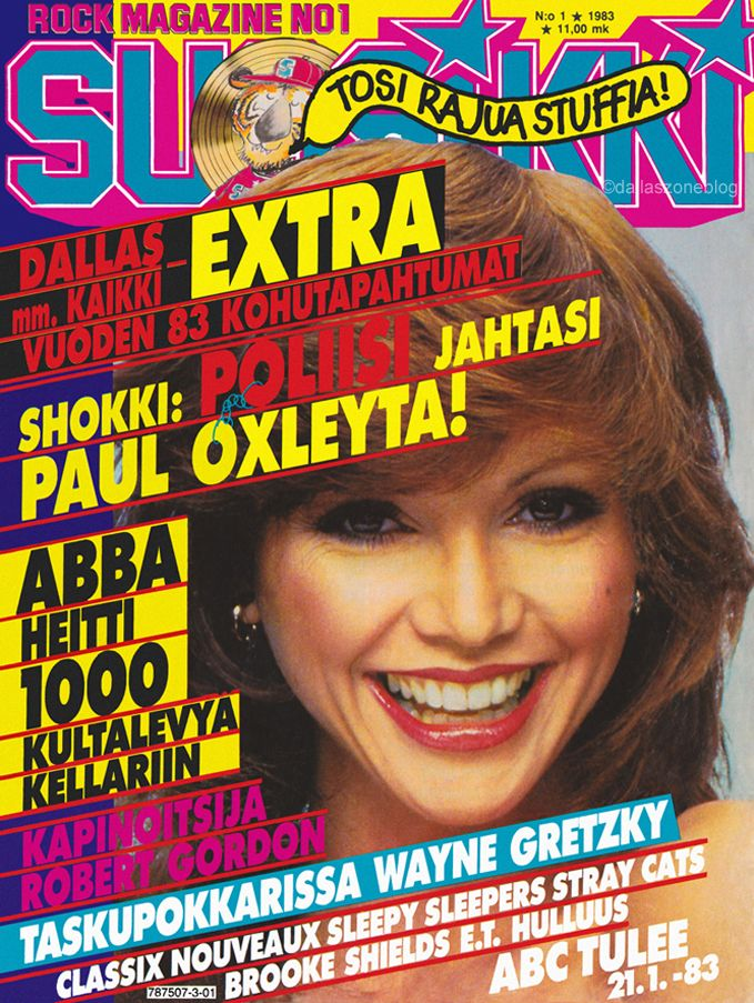Dallas' Victoria Principal as Pam Ewing on Suosikki rock magazine 1983.