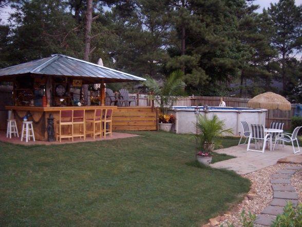 AFFORDABLE TIKI RETREAT TIKI BAR ABOVE GROUND POOL GRILLING AREA Yards Design  outdoor garden