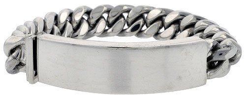 Sterling Silver Cuban Curb Link Men S Id Bracelet 1 2 Inch Wide Sizes 8 5 9 For Only 545 75 You Save 546 25 50 Hubby Pinterest Mens