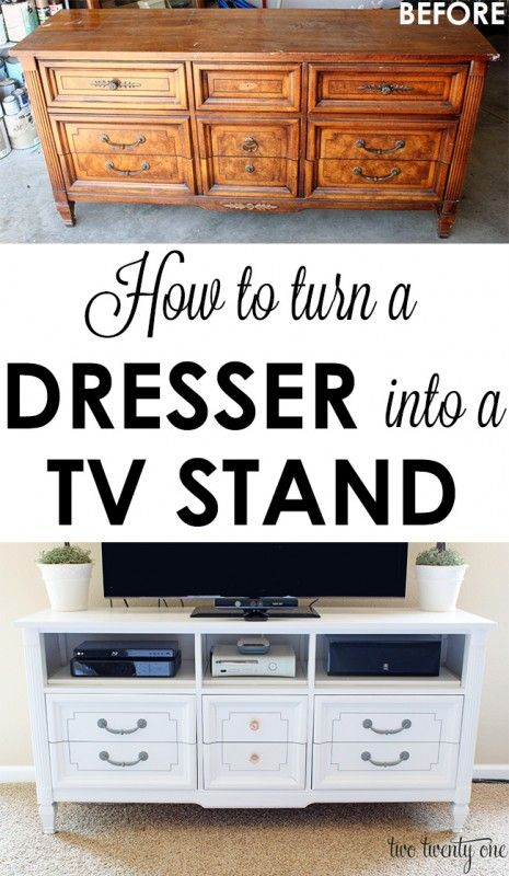 GREAT step-by-step tutorial on how to turn an old dresser into a TV stand!  Total cost: $83!